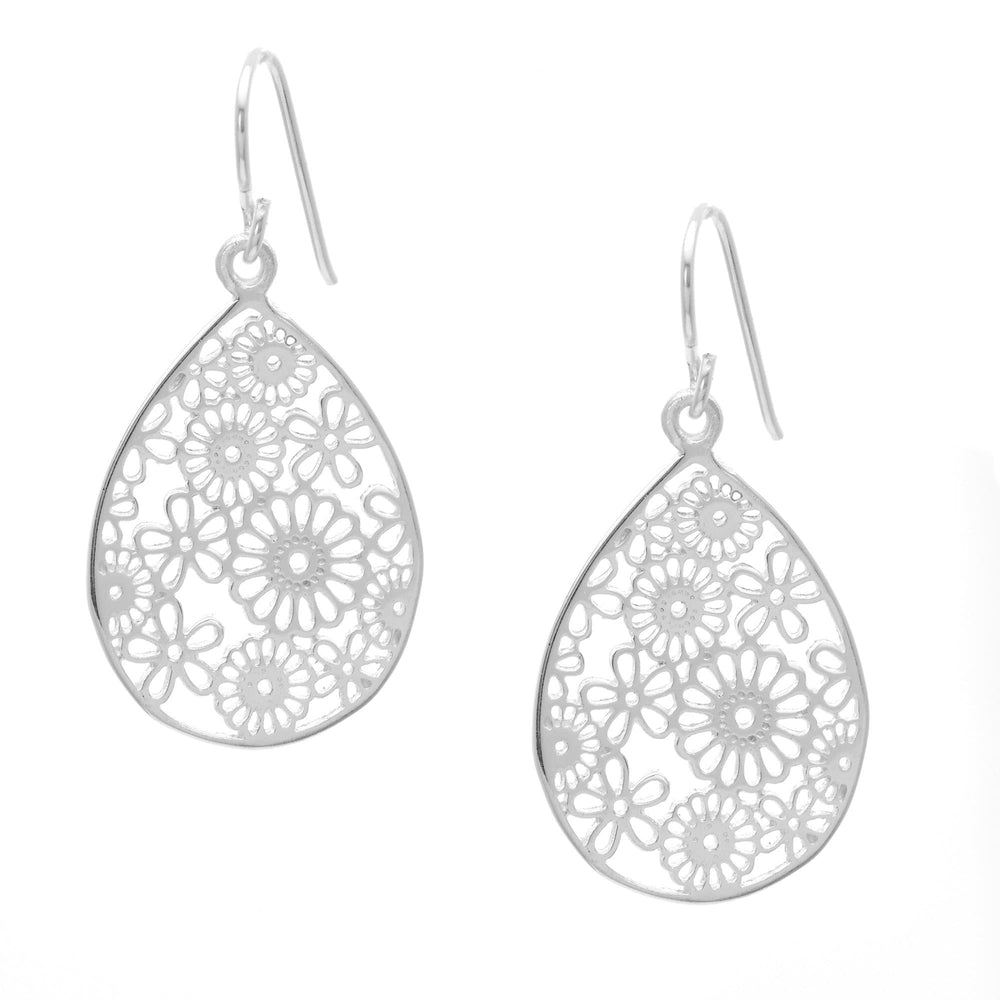 Sterling Silver Floral Filigree Teardrop Dangle Earrings