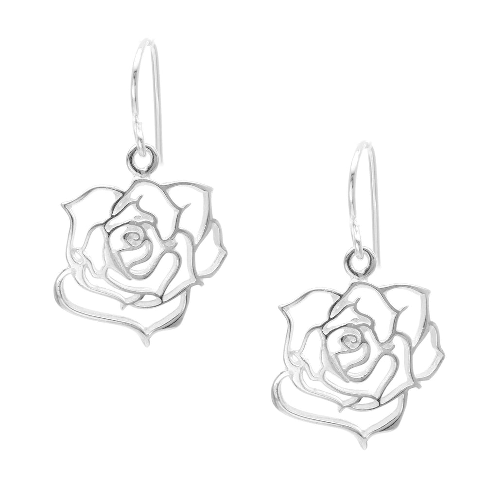 Load image into Gallery viewer, Sterling Silver English Rose Flower Dangle Earrings