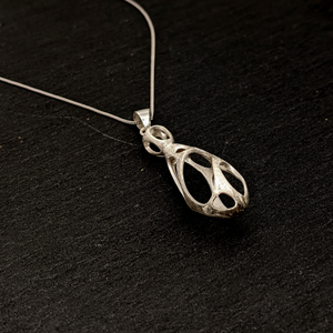 Load image into Gallery viewer, Sterling Silver Holey Teardrop Pendant Necklace