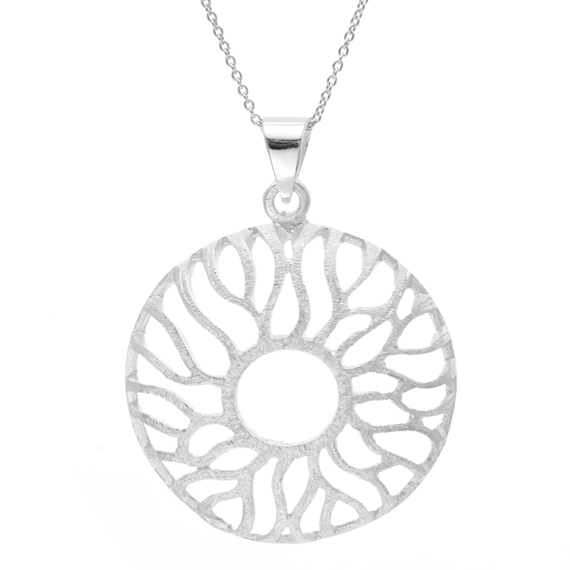 Silver sun necklace modern round pendant with rays silverly silver sun ray pendant mozeypictures Image collections