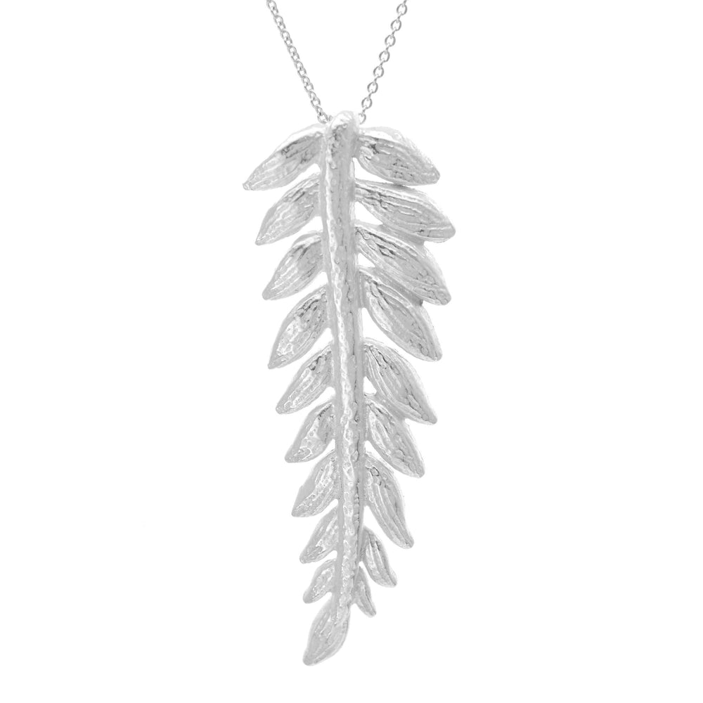 Sterling Silver Leaf Plant Pendant Necklace