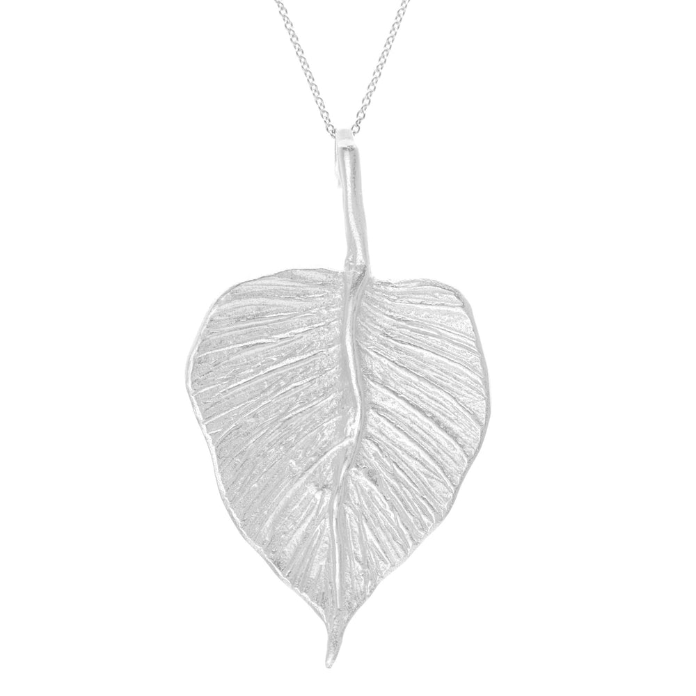 Sterling Silver Solid Textured Leaf Pendant Necklace