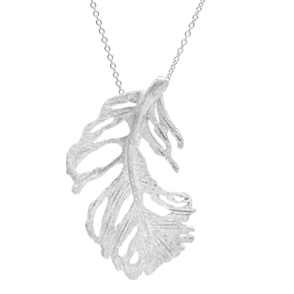 Sterling Silver Holey Leaf Feather Pendant Necklace