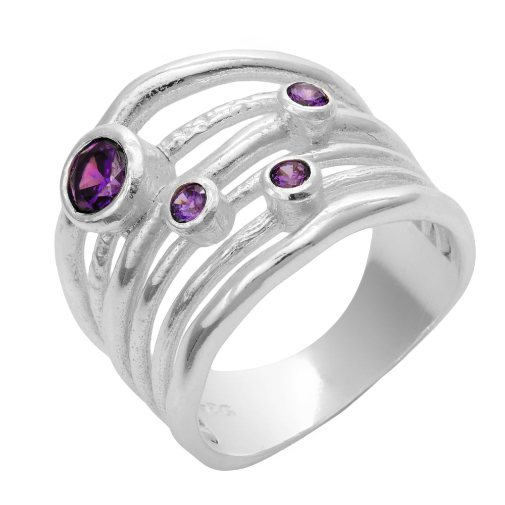 Sterling Silver Purple Cubic Zirconia Multi Band Ring - Silverly