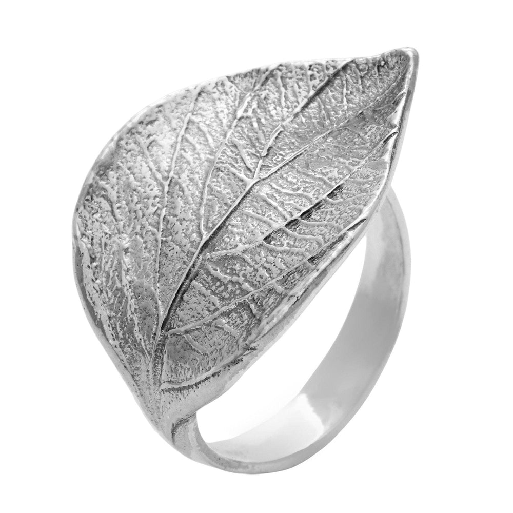 Sterling Silver Adjustable Botanical Leaf Band Ring - Silverly