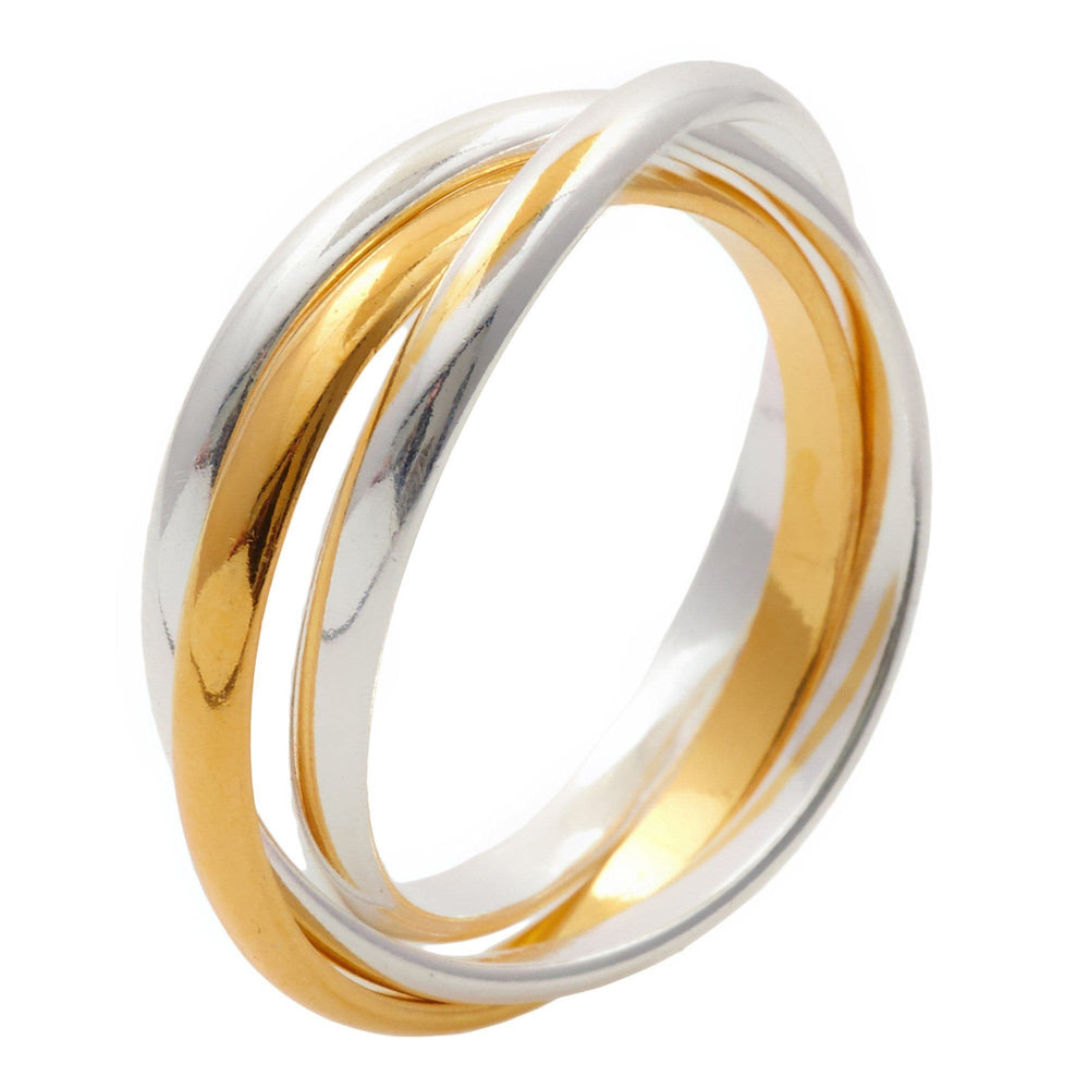 Sterling Silver Yellow Gold Plated Triple Russian Ring - Silverly