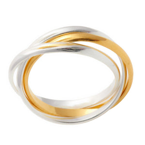 Load image into Gallery viewer, Sterling Silver Yellow Gold Plated Triple Russian Ring - Silverly