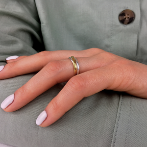 Load image into Gallery viewer, Sterling Silver Yellow Gold Plated Triple Russian Ring