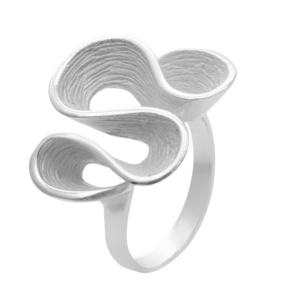 Sterling Silver Ripple Wavy Loop Twist Pleated Ring - Silverly
