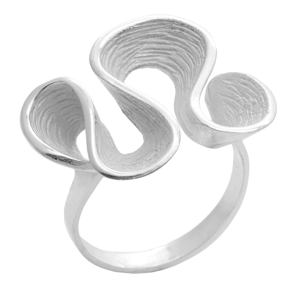 Load image into Gallery viewer, Sterling Silver Ripple Wavy Loop Twist Pleated Ring - Silverly