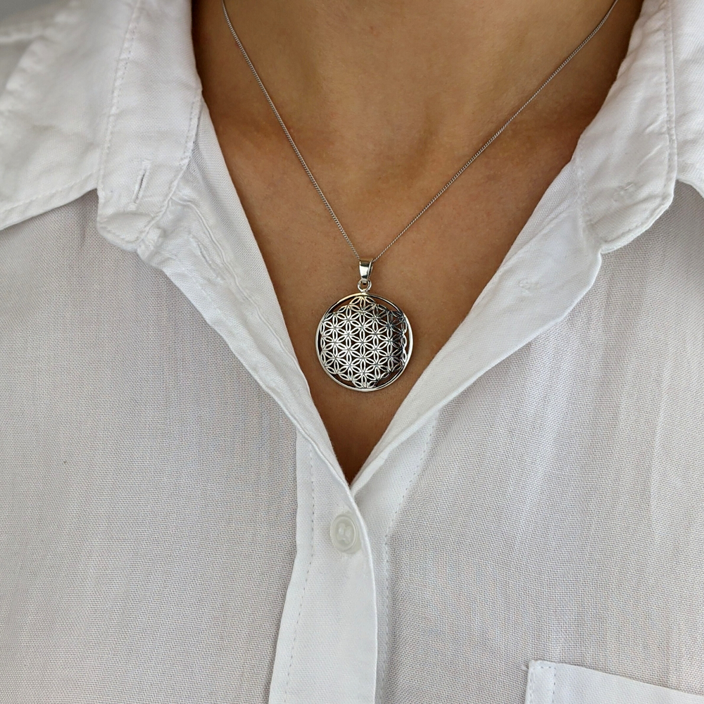 Load image into Gallery viewer, Sterling Silver Flower Of Life Sempiternal Pendant Necklace