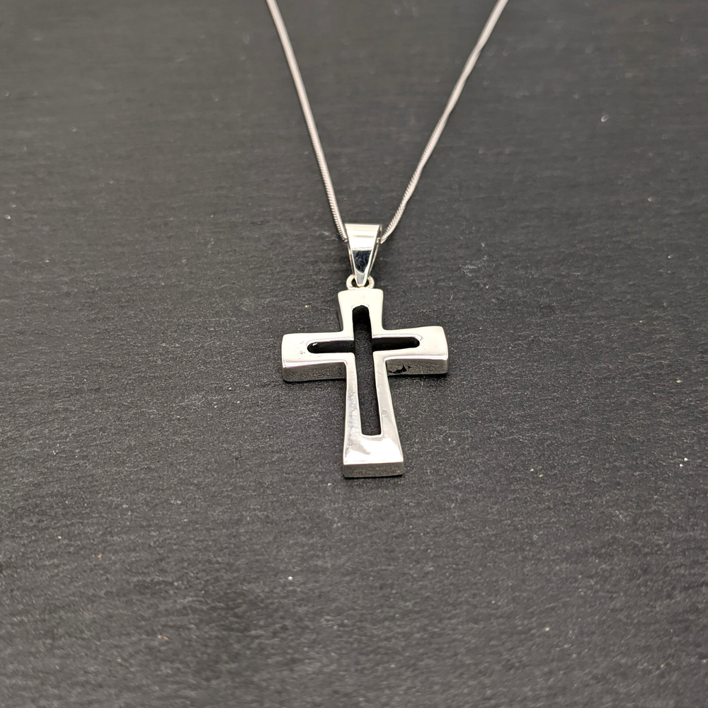 Load image into Gallery viewer, Sterling Silver Cross Open Crucifix Pendant Necklace