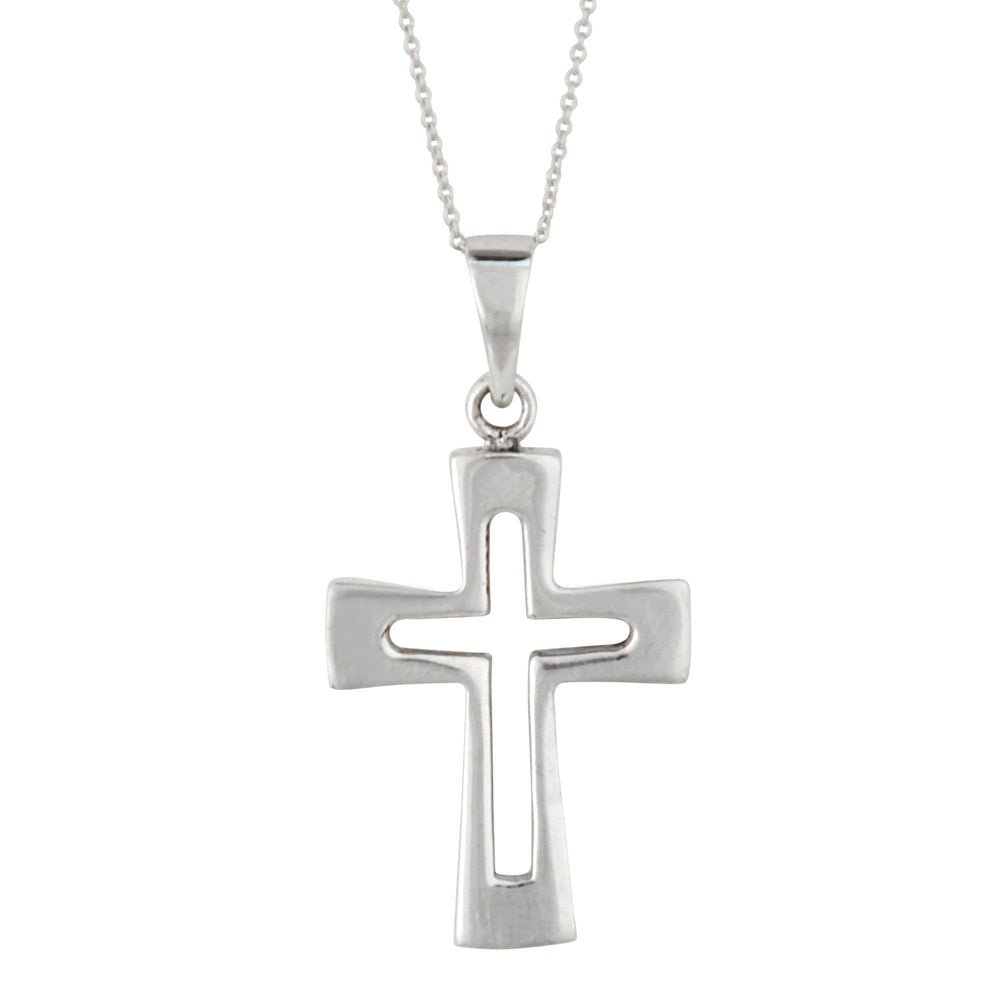 Sterling Silver Cross Open Crucifix Pendant Necklace
