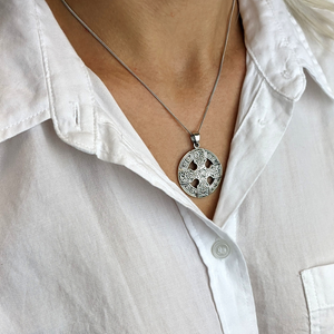 Load image into Gallery viewer, Sterling Silver Celtic Cross & Triskele Pendant Necklace