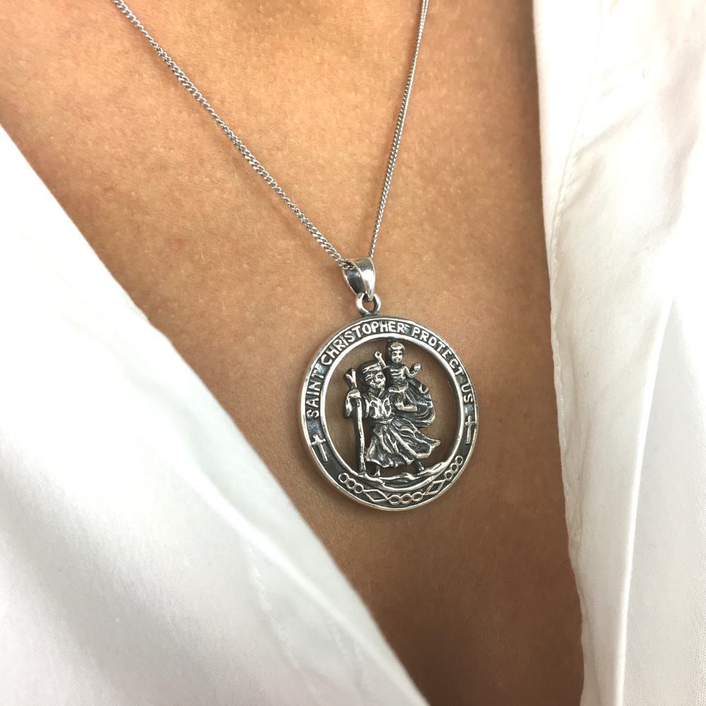 Load image into Gallery viewer, Sterling Silver St. Christopher Pendant Necklace