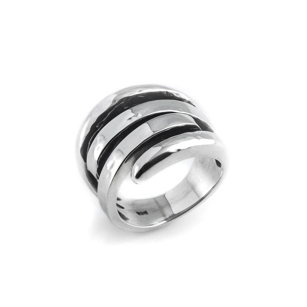 Sterling Silver Solid Overlapping Bands Ring - Silverly
