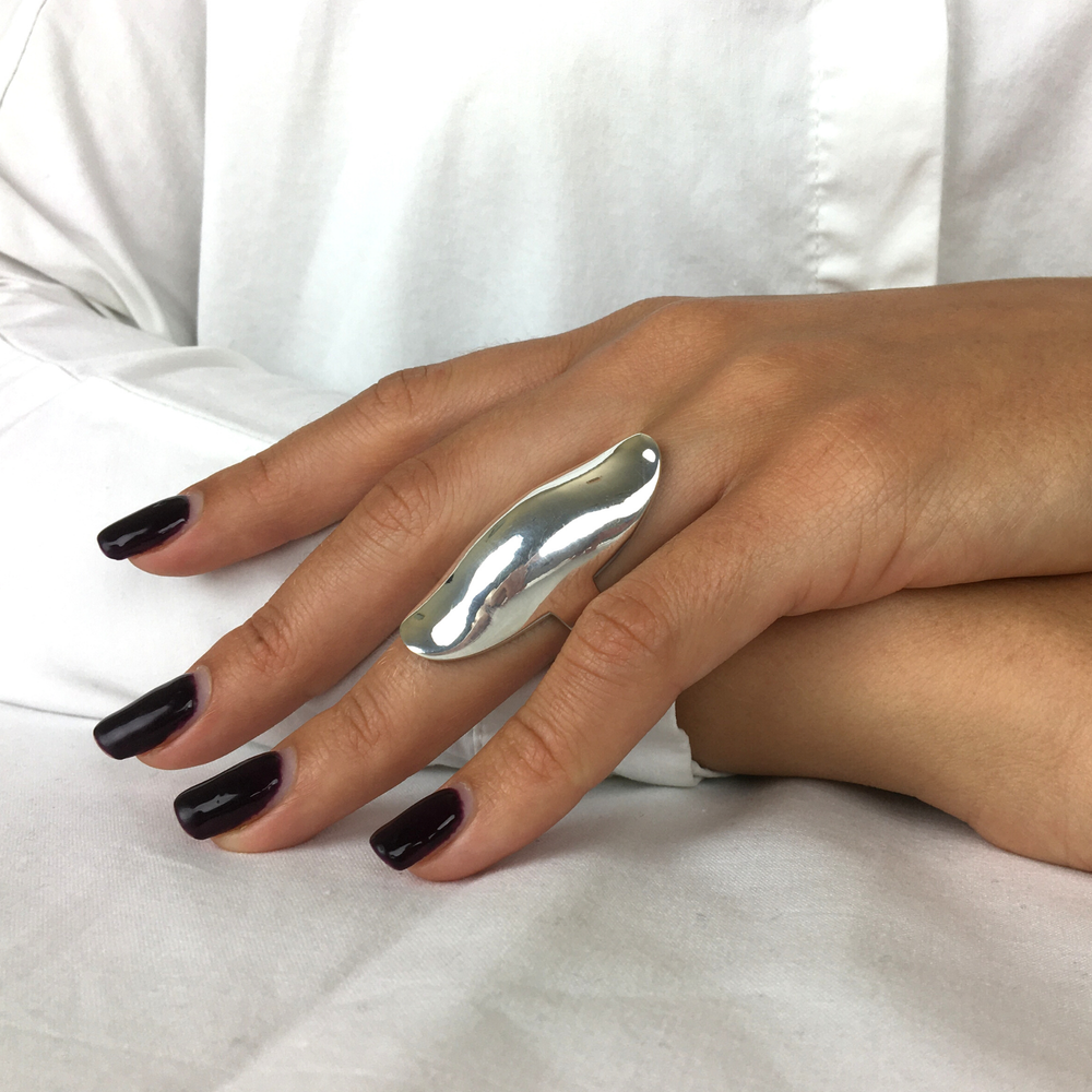 Load image into Gallery viewer, Sterling Silver Solid Long Knuckle 43mm Ring