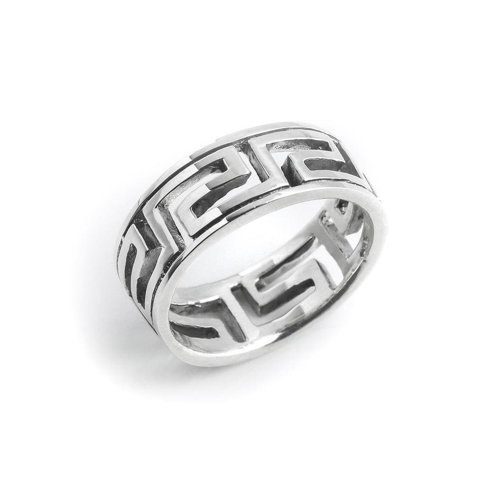 Sterling Silver Open Greek Key 7 mm Ring - Silverly