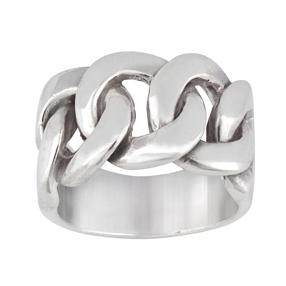 Sterling Silver Celtic Curb Chain Links Chunky Ring - Silverly