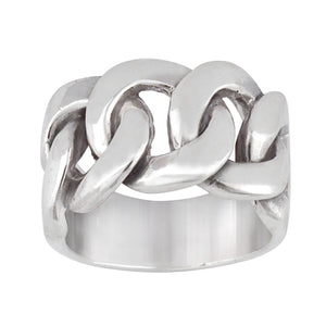 Load image into Gallery viewer, Sterling Silver Celtic Curb Chain Links Chunky Ring - Silverly