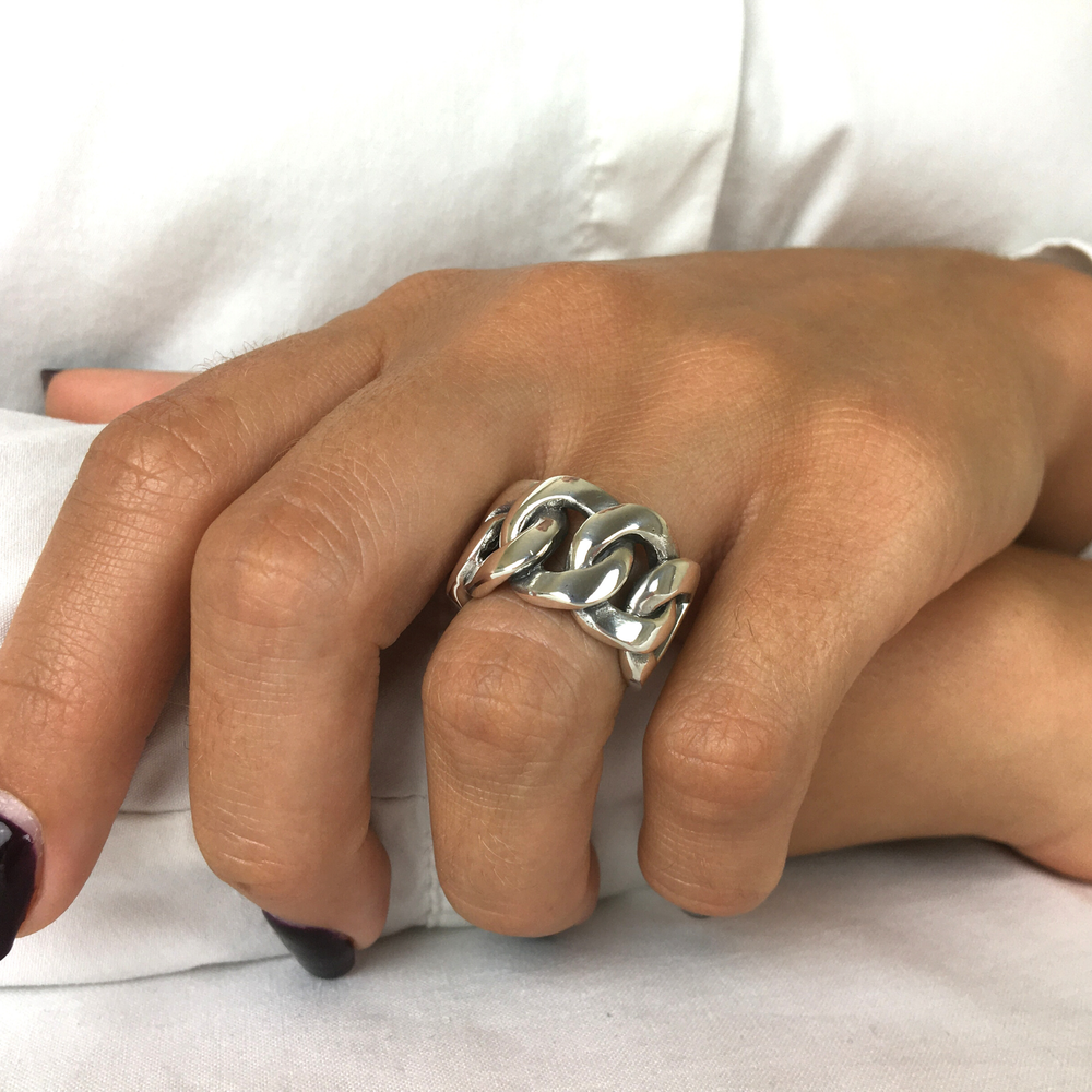 Load image into Gallery viewer, Sterling Silver Celtic Curb Chain Links Chunky Ring