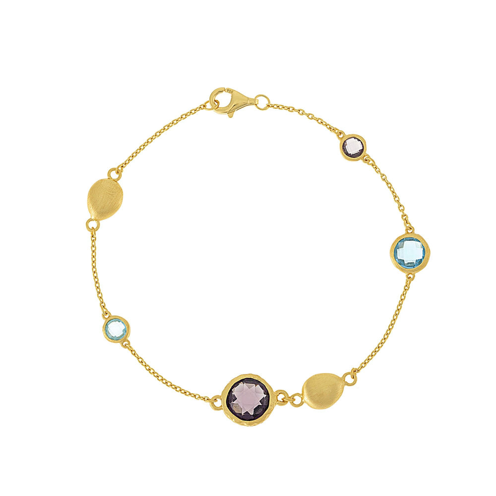 Brushed Gold Plated Sterling Silver Purple & Blue Gem Bracelet