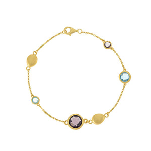 Load image into Gallery viewer, Brushed Gold Plated Sterling Silver Purple & Blue Gem Bracelet