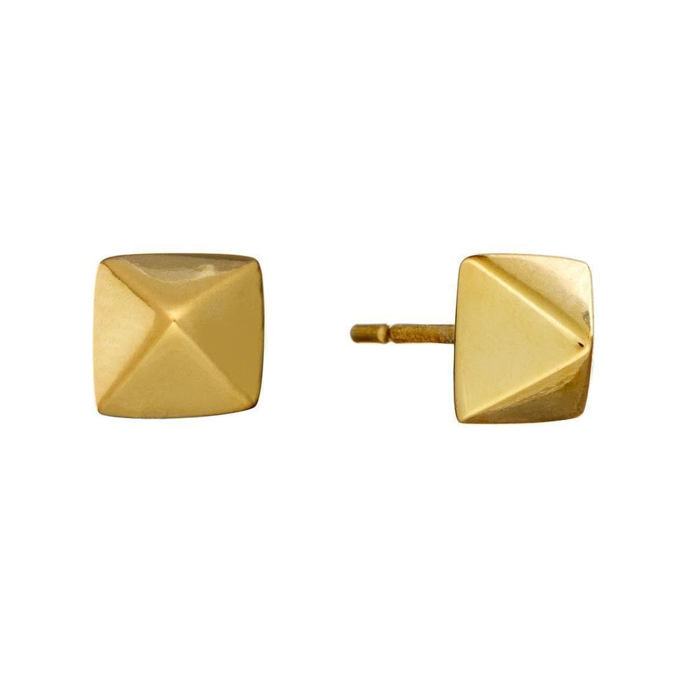 Sterling Silver Gold Plated Square Geometric Stud Earrings
