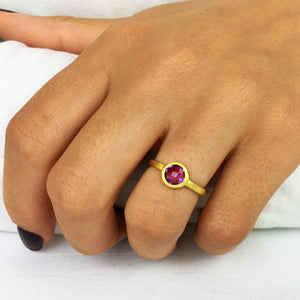 Load image into Gallery viewer, Brushed Gold Plated Sterling Silver Amethyst Ring