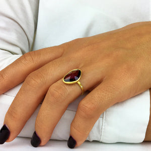 Load image into Gallery viewer, Brushed Gold Plated Sterling Silver Irregular Amethyst Ring