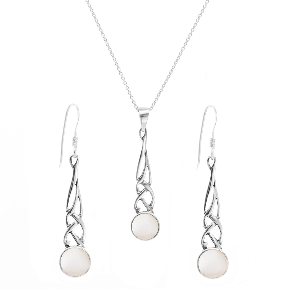 Sterling Silver Mother Pearl Celtic Knot Set - Silverly