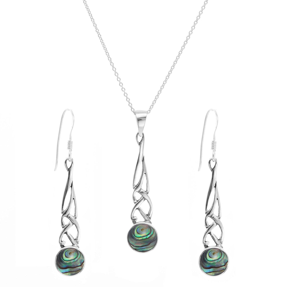 Sterling Silver Abalone Shell Celtic Knot Set - Silverly