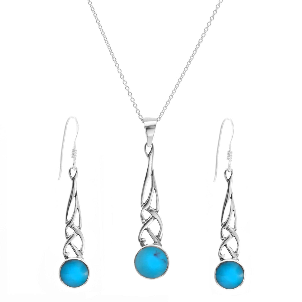 Sterling Silver Turquoise Celtic Knot Set