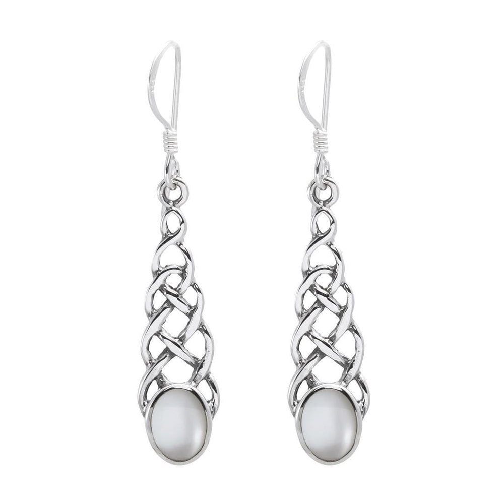 Sterling Silver Celtic Mother of Pearl Earrings - Silverly