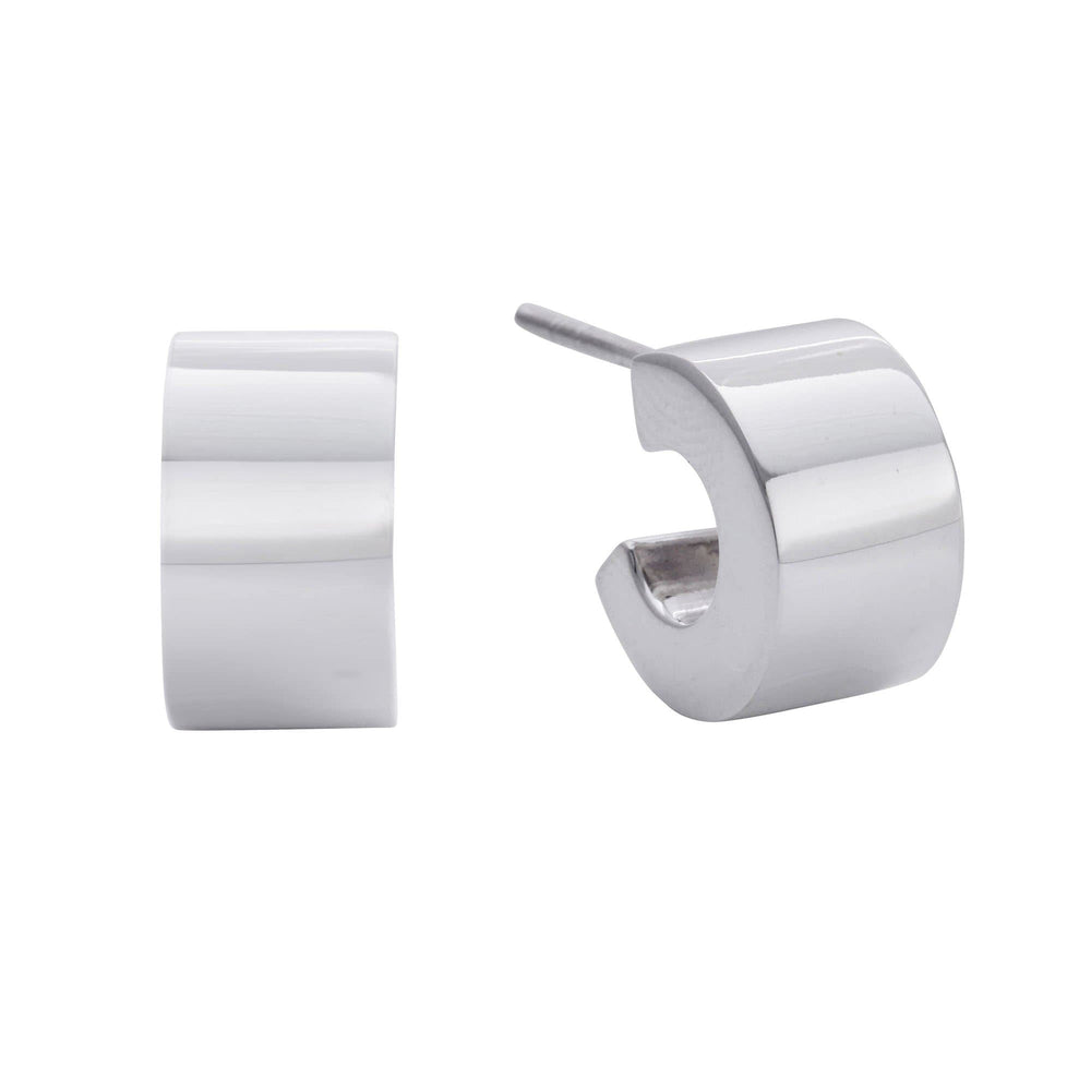 Sterling Silver Solid Thick Cuff Half Hoop Stud Earrings - Silverly