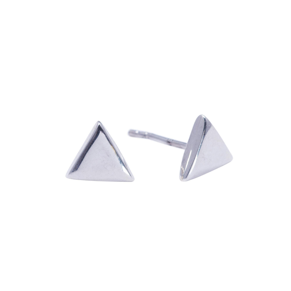 Load image into Gallery viewer, Sterling Silver Geometric Flat Triangle Stud Earrings