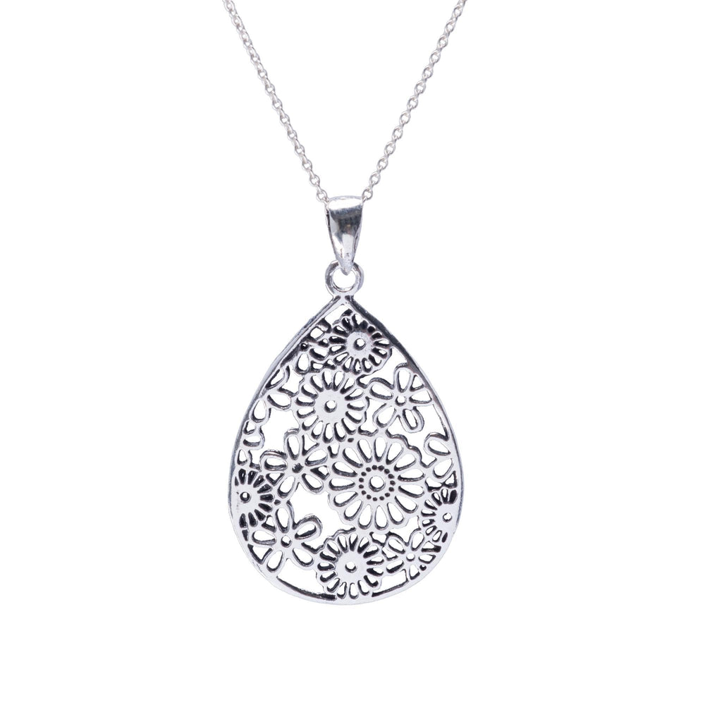 Sterling Silver Filigree Flower Teardrop Pendant