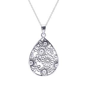 Load image into Gallery viewer, Sterling Silver Filigree Flower Teardrop Pendant