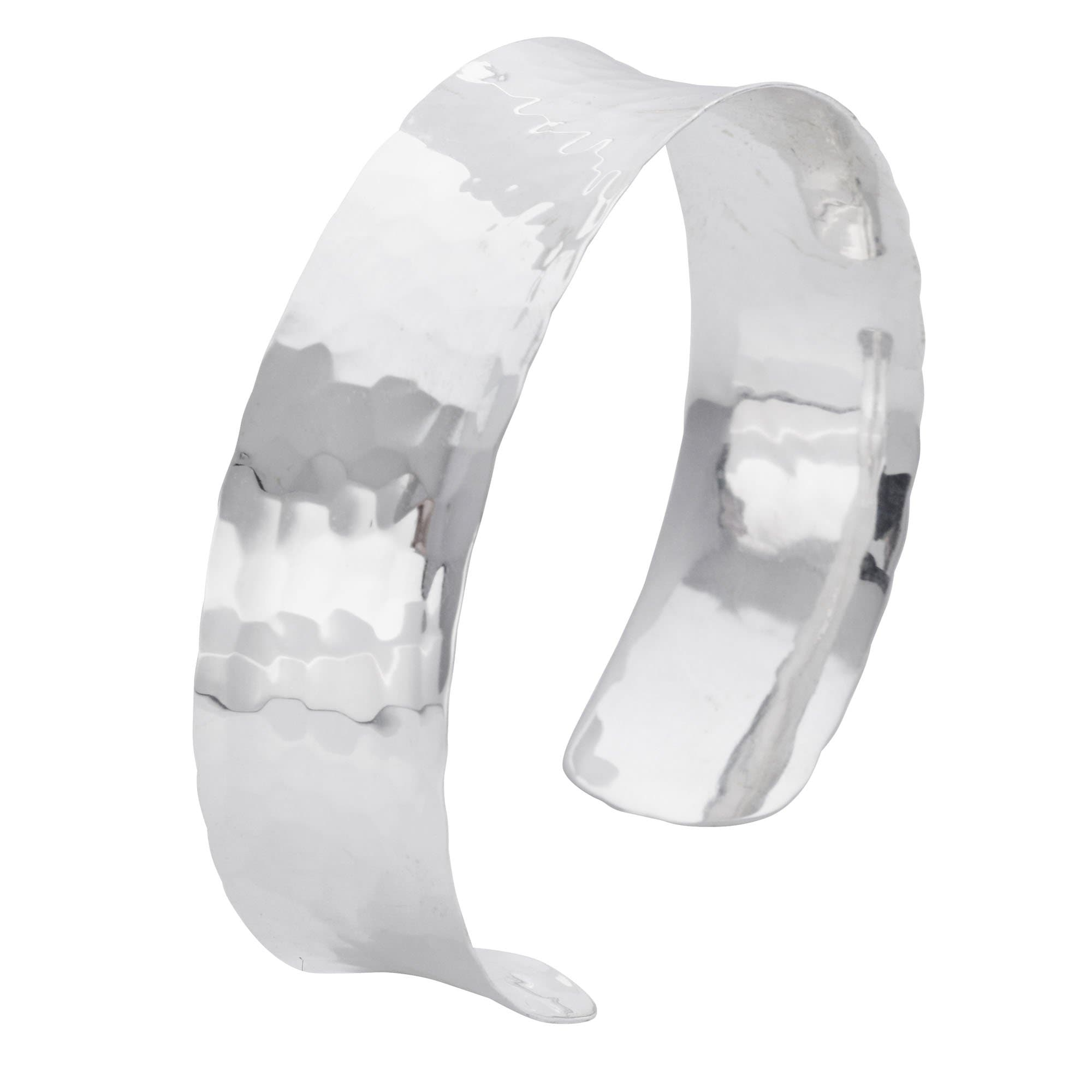 110dc969c Hammered Silver Bangle Thick Concave Shape Cuff Bracelet - Silverly