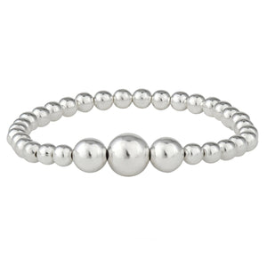 Load image into Gallery viewer, Sterling Silver Ascending Bead Ball Elastic Stretch Bracelet