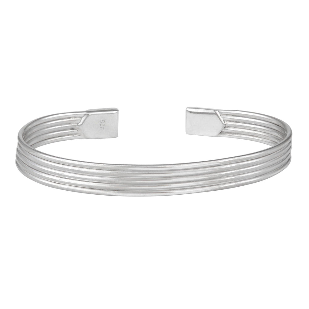 Sterling Silver Multi Band Line Adjustable Cuff Bracelet
