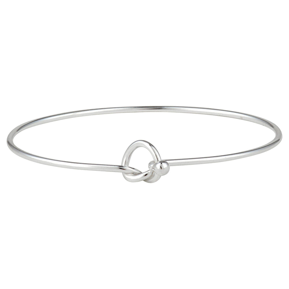Sterling Silver Polished Friendship Knot Bangle Bracelet - Silverly