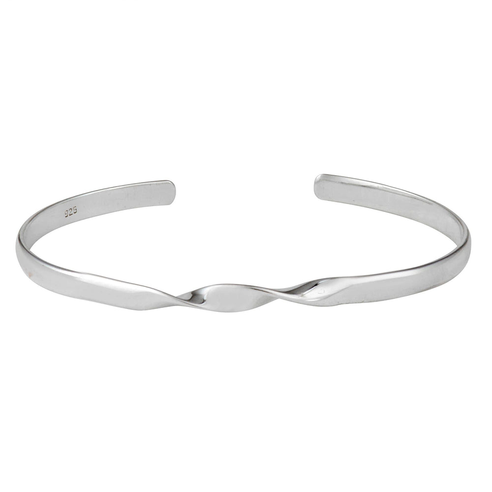Load image into Gallery viewer, Sterling Silver Twist Adjustable Cuff Bangle Bracelet