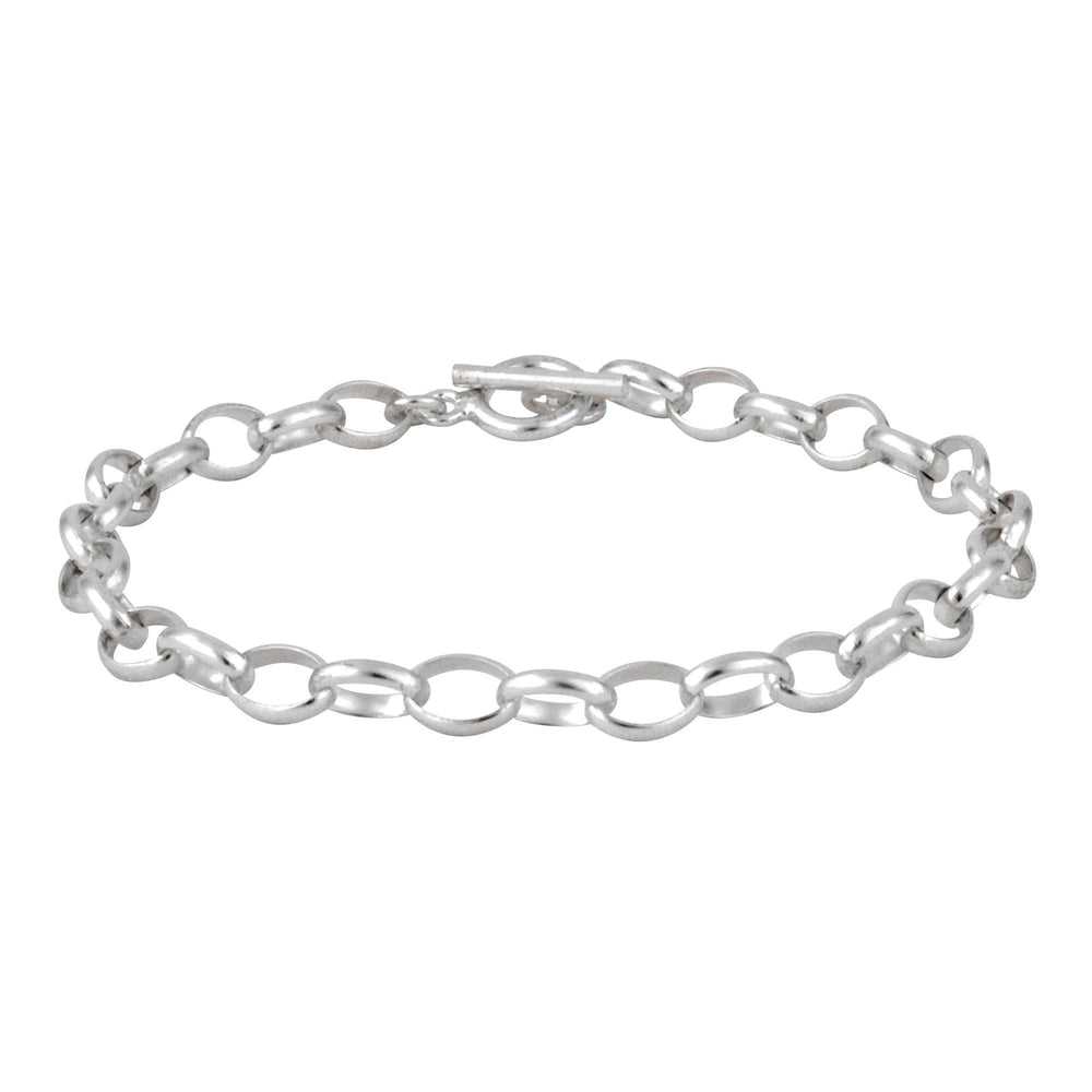 Sterling Silver Cable Chain Toggle Bar Bracelet