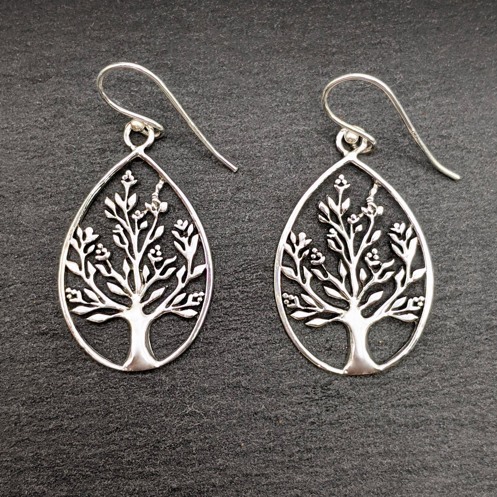 Load image into Gallery viewer, Sterling Silver Filigree Tree Teardrop Dangle Earrings