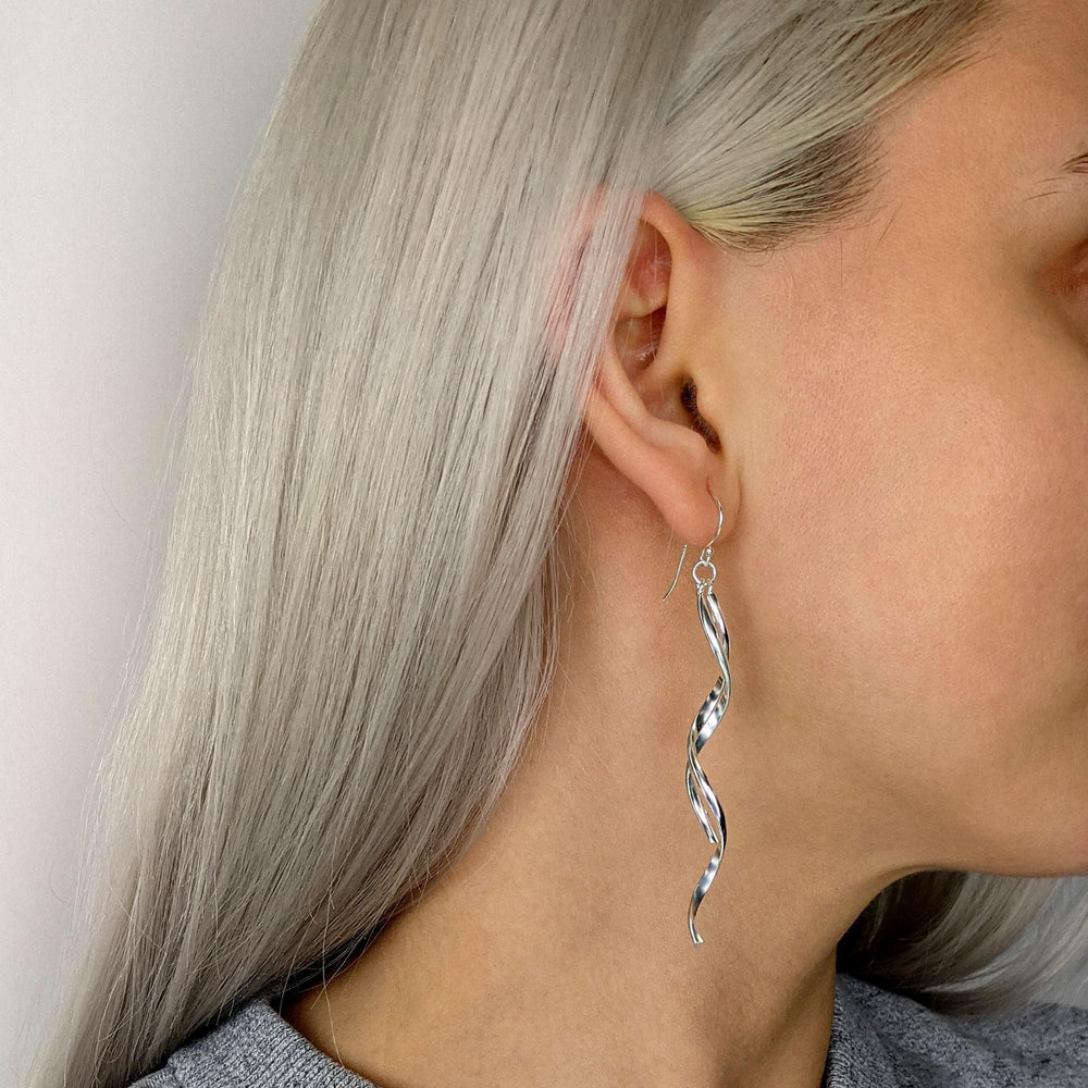 Load image into Gallery viewer, Sterling Silver Long Spiral Dangle Earrings