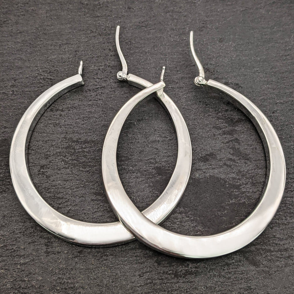 Load image into Gallery viewer, Sterling Silver Large Square Tube Hinged Hoop Earrings