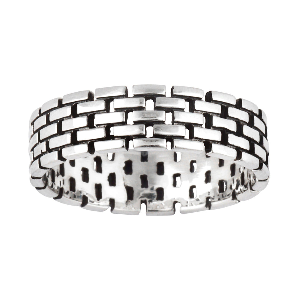 Sterling Silver Brick Pattern Stone Wall Band Ring