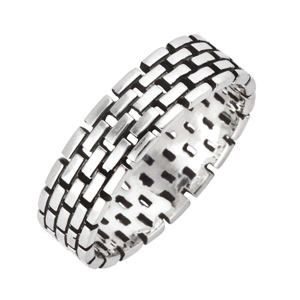 Load image into Gallery viewer, Sterling Silver Brick Pattern Stone Wall Band Ring