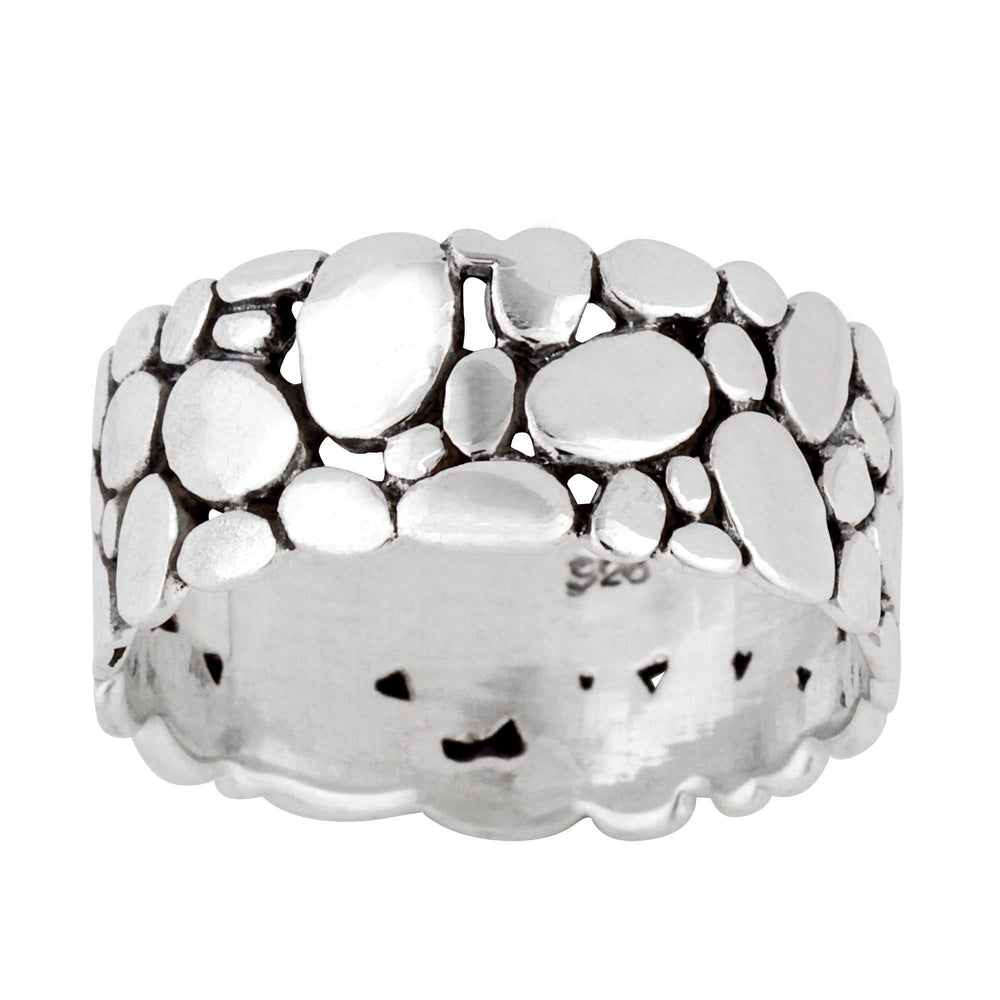 Sterling Silver Pebble Stone Pattern Band Ring - Silverly